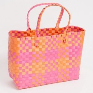 South Beach Pink and Orange beach tote